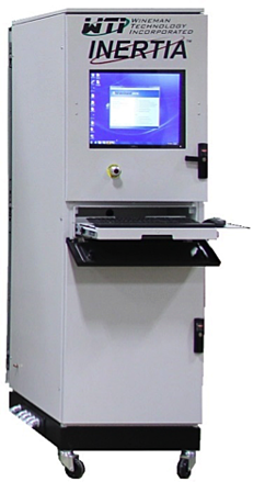 The electronics rack contains CompactDAQ real-time hardware and INERTIA software to monitor and control the test stand.